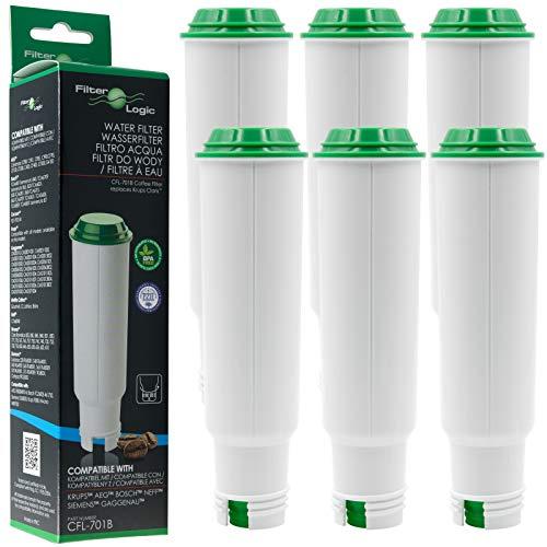 6 x FilterLogic CFL-701B Filtre à eau remplace CLARIS F088 / Claris Pro Aqua Cartouche filtrante pour Melitta / Krups / Rowenta / Bosch / Neff / SEB Moulinex / Tefal / AEG machine à café automatique