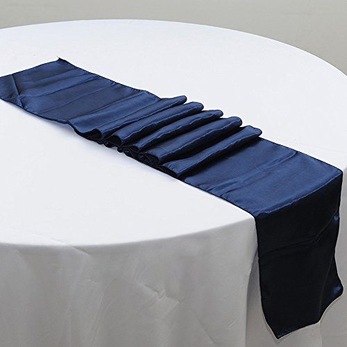 10PCS 12 x 108 Inch Satin Table Runner Wedding Banquet Decoration (#18 Navy Blue)