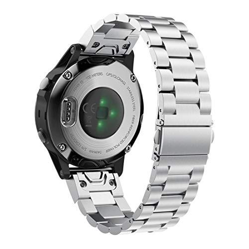 Abanen for Fenix 5S/Fenix 6S Watch Band, 20mm QuickFit Stainless Steel Metal Replecement Wristband Strap for Garmin Fenix 5S/5S Plus,Fenix 6S Pro/Sapphire(NOT for Fenix 5X/6X/5/6),Silver