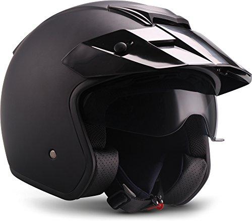 """Moto Helmets® S77 """"Matt Black"""" · Jet-Helm · Motorrad-Helm Roller-Helm Scooter-Helm Bobber Mofa-Helm Vintage Pilot Biker · ECE S (55-56cm)"""