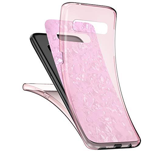 JAWSEU Kompatibel mit Samsung Galaxy S10 Plus Hülle 360 Grad Handyhülle, Muschel Muster Ultradünn Silikon Crystal Soft TPU Case Full Schutz Cover Vorne und Hinten Schutzhülle für Galaxy S10 Plus,Rosa