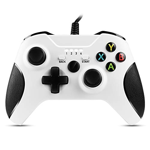 Zexrow Mando Xbox One con Cable, Gamepad con Cable USB, Con Función de Vibración Dual, Diseño Ergonómico, Compatible con Xbox One / X / S / Elite y Windows7/8/10(Blanco)