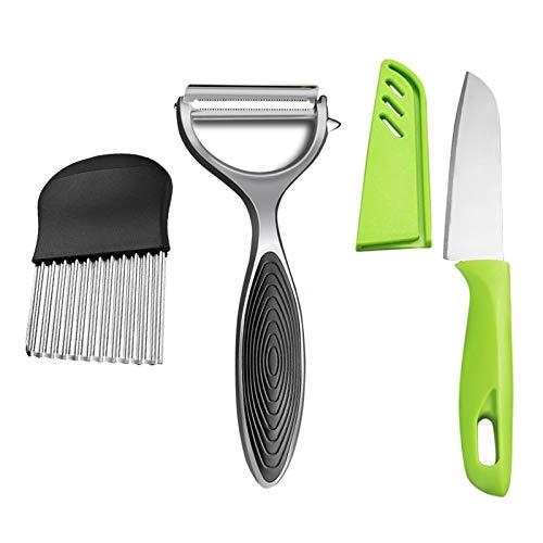 Jeu de pommes de terre multifonctionnelles, de légumes et d'outils de fruits pour la cuisine 3 pièces comprennent une coupe-froissement en acier inoxydable, un couteau à fruits et un éplucheur pour le