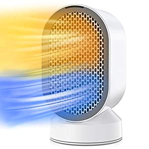 Portátil Calefactor Eléctrico, QUARED Mini Calentador de Ventilador, Personal Ventilador Calefactor Eléctrico PTC Cerámica, Oscilación Automática Calefactor Aire Frio y Caliente para Hogar Oficina