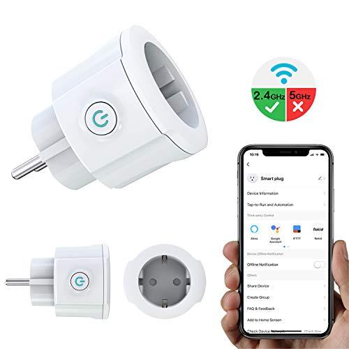MoKo WiFi Enchufe Inteligente, 16A Inalámbrico Smart Mini Plug de Energía del Zócalo del Interruptor Funciona con Alexa Echo Google Home, App Control Remoto y Función de Temporizador, No Requiere Hub