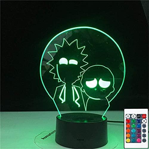 Rick & Morty 3D ilusión holograma noche lámpara USB alimentado 16 colores intermitente interruptor táctil iluminación dormitorio decoración para niños regalo de Navidad