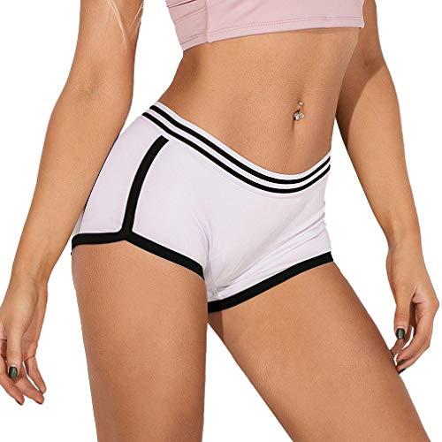 Generise Yoga Shorts Frauen Mini Shorts Frauen Sommer Hot Pants Mittlere Taille Casual Bottoms Beach Shorts Turnhose Capri Unterwäsche Knickers Höschen Slim Workout Shorts mit gestreiften Sportshorts