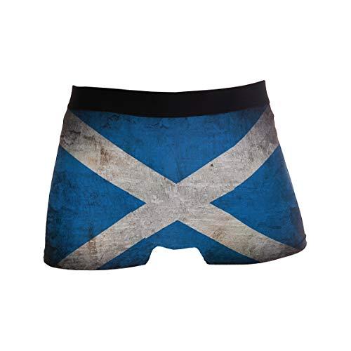 ZZKKO Herren-Boxershorts, Retro-Design, Grunge Schottland-Flagge, atmungsaktiv, Stretch, mit Tasche, S-XL - Blau - Medium