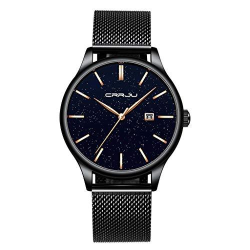 Herren Armbanduhr | Luotuo Hohe Qualität Wasserdicht Quarzuhr | Ø42mm Sternenhimmel Keine Nummer Zifferblatt mit Schwarzer Edelstahl Mesh Uhrenarmbänder Geschäft Watch