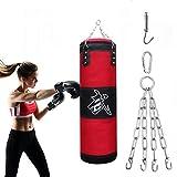 Alycwint Sacos de Boxeo 1 Metro, sin llenar MMA Muay Thai Saco Pesado Boxeo Fitness Entrenamiento Entrenamiento Kick Boxing Saco de Boxeo con Cadenas de Hierro y Gancho de Expansión