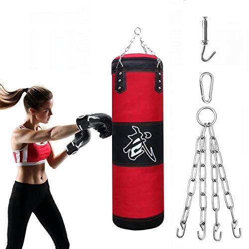 Alycwint 1M Boxsack Erwachsene UNGEFÜLLT MMA Muay Thai Schwere Tasche Boxen Fitness Workout Training Kick Boxen Boxsack mit Eisenketten und Erweiterungshaken