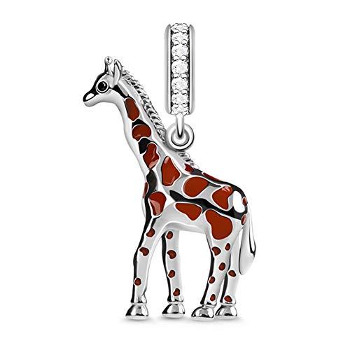 GNOCE Charm Ciondolo Giraffa in Agento S925 Indipendente e Nobile  Charm Bead Per Bracciali e Collana Regalo di Natale per Famiglia Moglie Figlia Amico