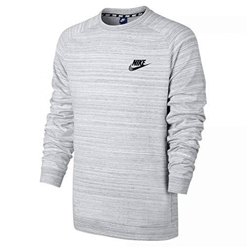 Nike Men 's Sportswear Advance 15Crew, Long Sleeve Top Herren, Herren, Men's Sportswear Advance 15 Crew, White/Htr/Black