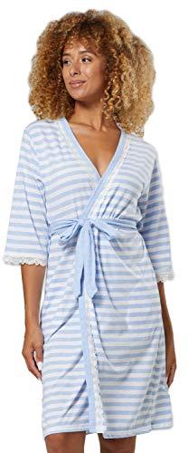 Zeta Ville Femme Maternité Nuit Peignoir Robe Chambre Manches 3/4 1277 (Bleu Clair, 36, S)