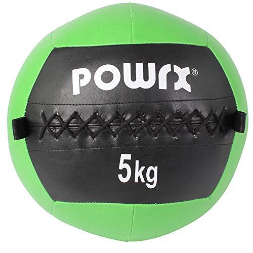 POWRX Wall Ball Balón Medicinal 5 kg - Ideal para Ejercicios de »Functional Fitness«, fortalecimiento y tonificación Muscular - Agarre Antideslizante + PDF Workout (Verde)