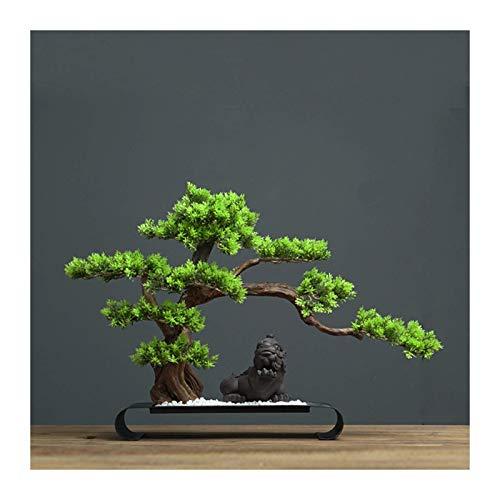 HYRGLIZI Árbol de bonsái Artificial Plantas de árbol de bonsái Artificial con Piedra Arenisca Blanca y Base de Metal Soporte de Mesa de Interior Adornos en macetas Artificiales para la Oficina en CAS