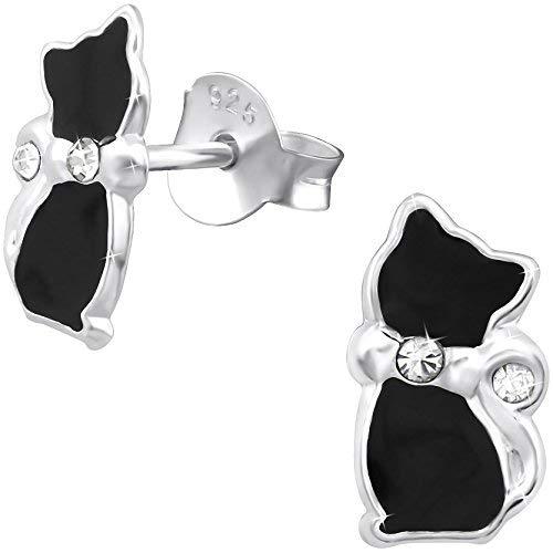 JAYARE Boucles d'oreilles Enfants chat noir chattes argent sterling 925 Cristal noir clou d'oreilles fille