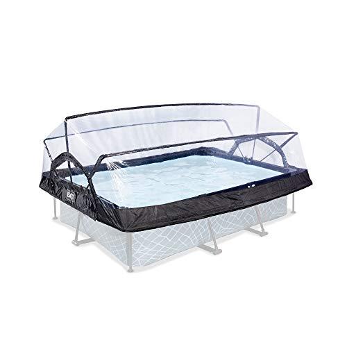 EXIT - Pool Abdeckung - rechteckig, 220x150cm, transparent, Überdachung für Aufstellpools, universal, komplett abklappbar, Poolzubehör