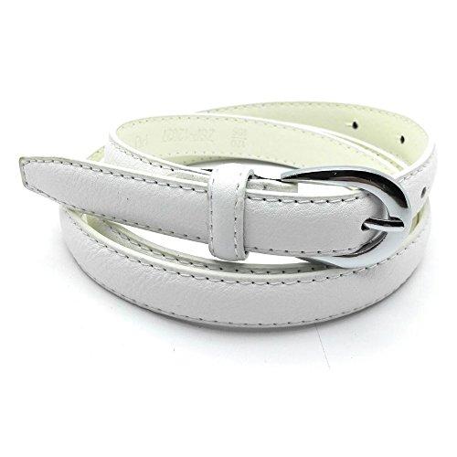 MYB Cintura per donna in similpelle - diversi colori e dimensioni (105-120 cm, Bianco)