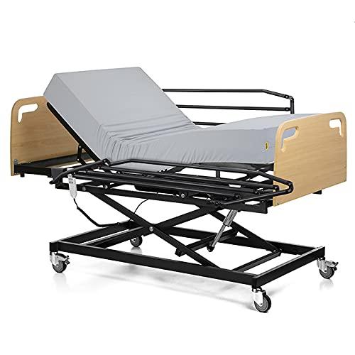 Ferlex - Cama articulada con Carro Elevador | Cabecero y Piecero | Colchón Sanitario viscoelástico | Barandillas abatibles (90x190)