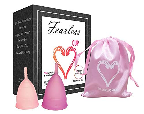Fearless Cup - Free Carrying Bag and Sterilizer Cup - Set of 2 (1 Small and 1 Large) Menstrual Cups - Great Reusable Alternative Product to Tampons Pads and Sanitary Napkins Period Non-Toxic