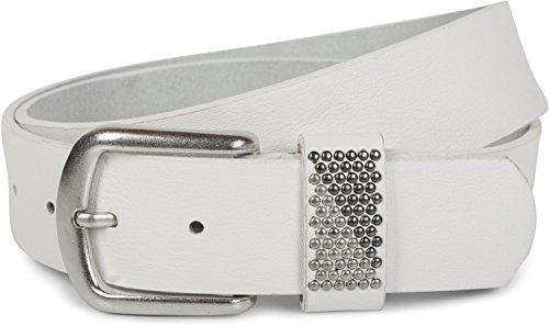 styleBREAKER Gürtel mit zweifarbigen Nieten an der Schlaufe, Nietengürtel, kürzbar, Unisex 03010088, Größe:105cm, Farbe:Weiß