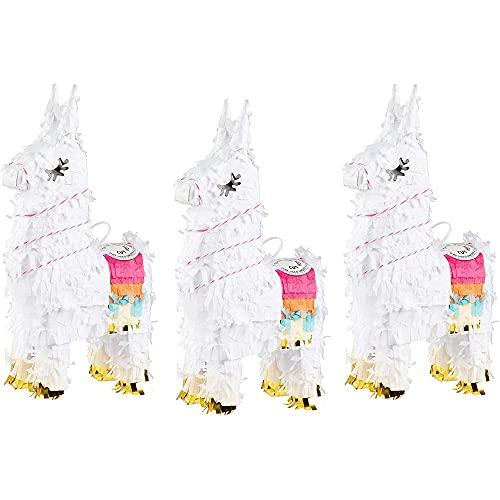 Juvale Miniatur-Lama-Party-Pinatas zum Geburtstag, Fiesta, Cinco de Mayo, Mini-Größe, 3er-Pack, 27 x 13 x 5 cm