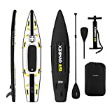 Gymrex Tabla Hinchable para Stand Up Paddle Sup GR-SPB375 (Drop Stitch - PVC, Alfombrilla EVA, hasta 120 kg, Negro/Amarillo)