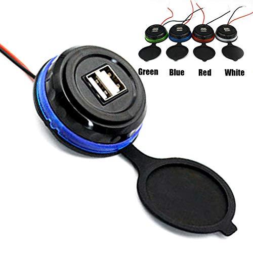 XingYue Direct 3.1a Dual-USB auto-oplaadaansluiting schakelbord inbouw 2-poorts laadadapter gelijkstroom, blauw