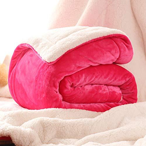 Asbecky Mantas para Sofa Manta de Lana de Coral, Manta de Cordero de imitación de Tres Capas de Felpa de Invierno para Mantas de sofá Cama-El 150x200cm-2.6kg_GRAMO