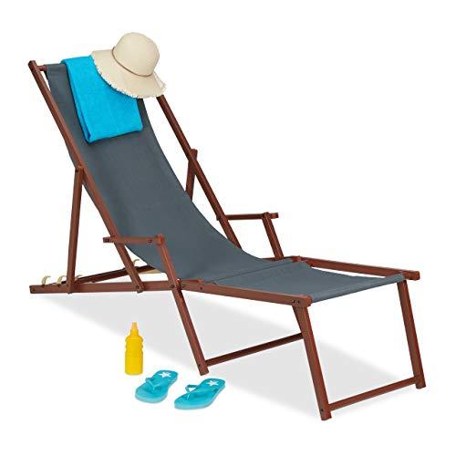 Relaxdays Liegestuhl Holz Stoff, 3 Liegepositionen, Gartenliege mit Armlehnen & Fußablage, 120kg, Sonnenliege, anthrazit