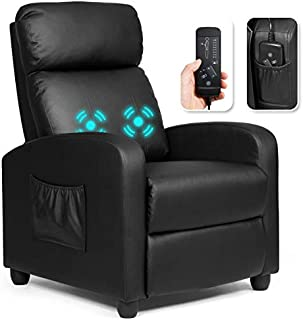 Giantex Recliner Chair for Living Room, Recliner Sofa Wingback Chair w/Massage Function, Padded Seat PU Leather Reclining Chair w/Side Pocket, Home Theater Seating Massage Recliner Easy Lounge (Black
