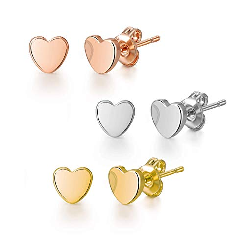 Set of Three Heart Stud Earrings