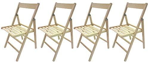 SF SAVINO FILIPPO 4 sillas plegables de madera de haya plegable, color natural, cómodas para camping, casa, jardín, producto italiano