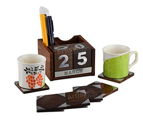 Gestaltet Craft–handgefertigt Dekorative Rosenholz Kalender–Never Ending, Home Decor Büro Holz Kalender Stifthalter Handarbeit Schreibtisch Organisatoren (natur, braun) Large