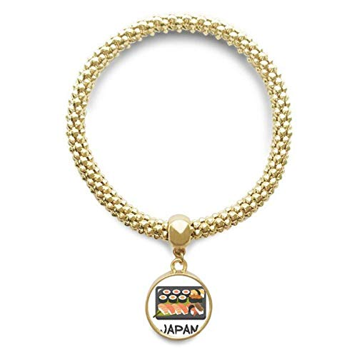 DIYthinker Womens traditionele Japanse Sushi doos gouden armband ronde hanger sieraden ketting