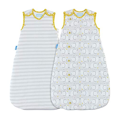 The Gro Company Elephant Love Grobag Baby Sleeping Bag Wash and Wear Twin Pack, 6-18 Months, 1.0 Tog