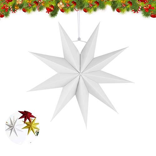 Estrella de Papel Decorativo,30cm Papel Estrellas decoración de Navidad,Estrellas decorativas para papel,Estrella de papel de Navidad,Papel 3D diseño de estrella (Blanco-1)