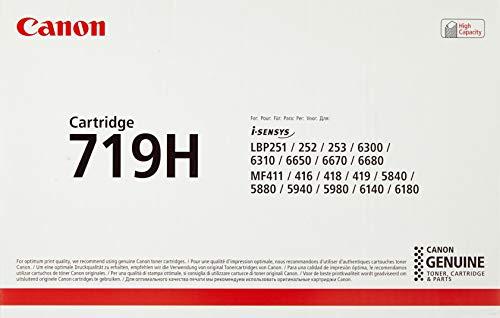 Canon cartucho 719H de tóner original negro para impresoras láser i-SENSYS LBP6300dn,6310dn,6650dn,6670dn,6680x,251dw,252dw,253x,MF5840dn,5880dn, 5940dn ,5980dw, 6140dn,6180dw,411dw, 416dw, 418x, 419x