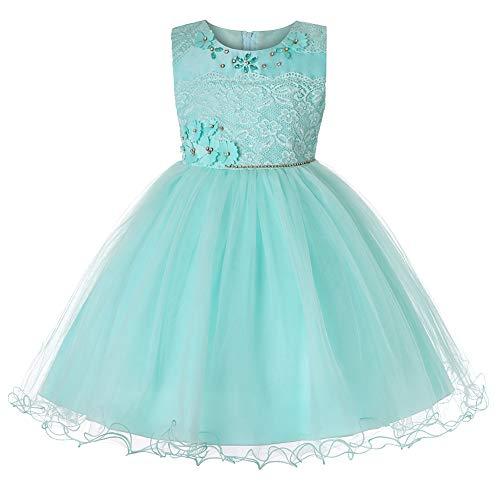 WUEZIFHDB Sommerkleider für Kids wunderschöne mädchen Kleider tüllkleid für Kinder Sommerkleider Kindermode schöne Prinzessinnen Kleider schöne hochzeitskleider für Kinder(XinAn-3002,Green,110)