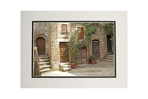 Tuscany, Italy - Tuscan Village Courtyard - Photography A-92489 (11x14 Double-Matted Art Print, Wall Decor Ready to Frame)