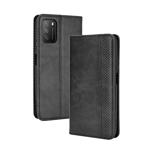 LEYAN Funda para Xiaomi Poco M3 Funda, Leather Folio Carcasa con Billetera, Magnética Premium PU/TPU Cuero FILP Case Cover con Soporte/Tapa Tarjetas (Negro)