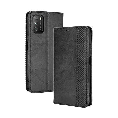 LEYAN Leder Folio Hülle für Xiaomi Poco M3, Lederhülle Brieftasche Mit Kartensteckplätzen, Premium Flip PU/TPU Handyhülle Schutzhülle Case Cover mit Ständer Funktion (Schwarz)