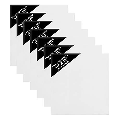 Belle Vous Lienzos para Pintar en Blanco (Pack de 7) 25 x 25 cm – Set Panel de Lienzo Grande Cuadrado Preestirado – Aptos para Pintura Acrílica y al Óleo - Lienzo Blanco para Bocetos y Dibujos