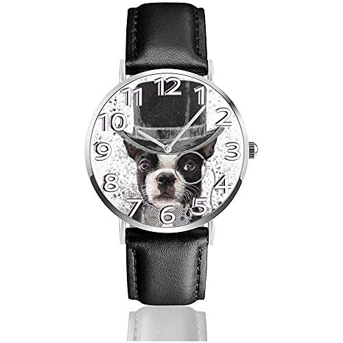 Stock Foto französische Bulldogge Leder Uhr Unisex Mode Armbanduhren Quarzuhr