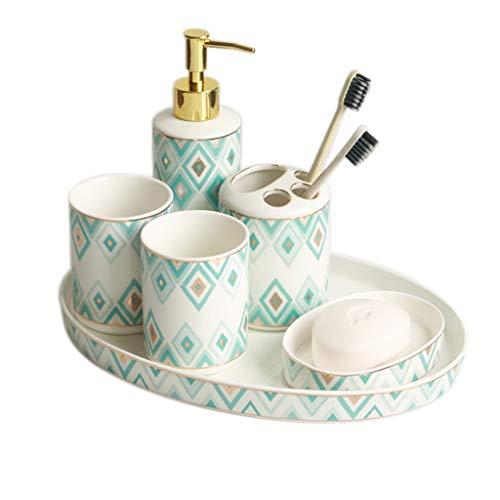 AVOA Badezimmer-Set Nordic Keramik Badezimmer Set Sechsteilige Pflege Set Seifenspender Geschirr Cup Zahnbürstenhalter Badezimmer Supplies Bad Accessoires (Color : Green)