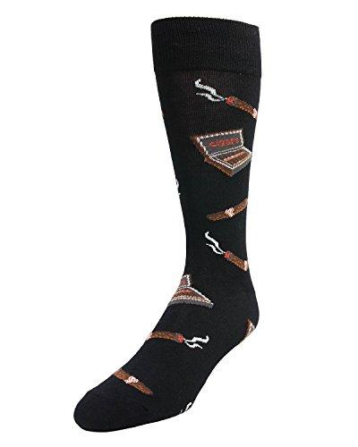 MeMoi Smoker's Delight Cigar Socks | Men's Cigar Novelty Socks Black MMF 000002 One Size 10-13
