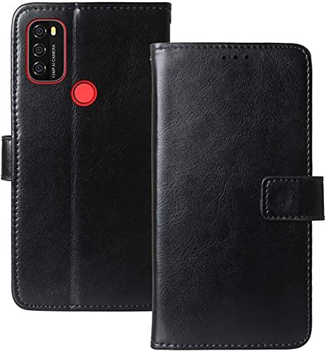 YundEU Leder Hülle für Blackview A70,Retro Ölwachs Premium Pu Leder Magnet Ständer Klapptasche Kartenfäche Flip Schutzhülle Tasche Brieftasche Handyhülle, Schwarz