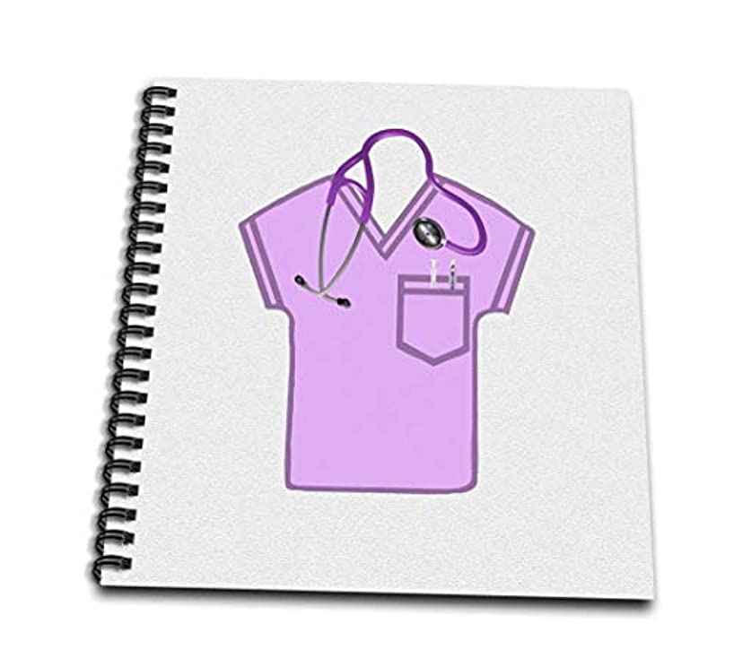 3dRose db_184076_3 Pink Scrub Top, Stethoscope, Thermometer and Syringe Mini Notepad, 4