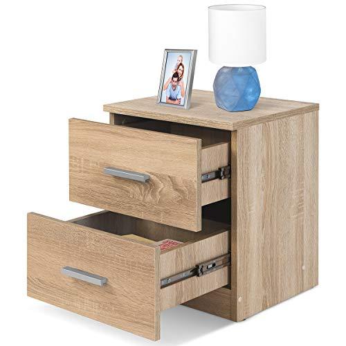 COMIFORT Mesa de Noche - Mesita Auxiliar para el Dormitorio de Estilo Nórdico, Moderna y Minimalista, con 2 Espaciosos Cajones, Muy Resistente, de Color Roble